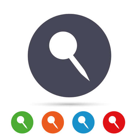 Pushpin sign icon. Pin button. Round colourful buttons with flat icons. Vector