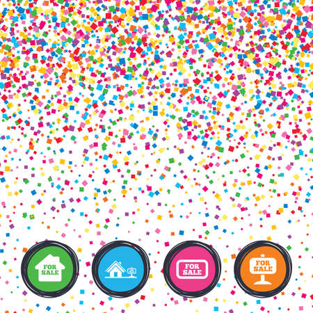 Web buttons on background of confetti. For sale icons. Real estate selling signs. Home house symbol. Bright stylish design. Vector Illustration