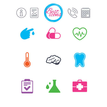 Information, report and calendar signs. Medicine, healthcare and diagnosis icons. Tooth, pills and doctor case signs. Neurology, blood test symbols. Classic simple flat web icons. Vector Ilustrace