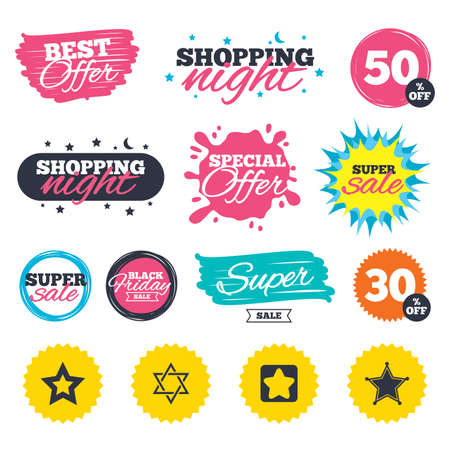Sale shopping banners. Special offer splash. Star of David icons. Sheriff police sign. Symbol of Israel. Web badges and stickers. Best offer. Vector Imagens - 79195454