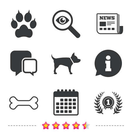 Pets icons. Cat paw with clutches sign. Winner laurel wreath and medal symbol. Pets food. Newspaper, information and calendar icons. Investigate magnifier, chat symbol. Vector Иллюстрация