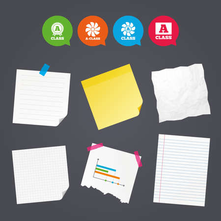 Business paper banners with notes. A-class award icon. A-class ventilation sign. Premium level symbols. Sticky colorful tape. Speech bubbles with icons. Vector