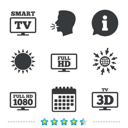 Smart TV mode icon. Widescreen symbol. Full hd 1080p resolution. 3D Television sign. Information, go to web and calendar icons. Sun and loud speak symbol. Vector