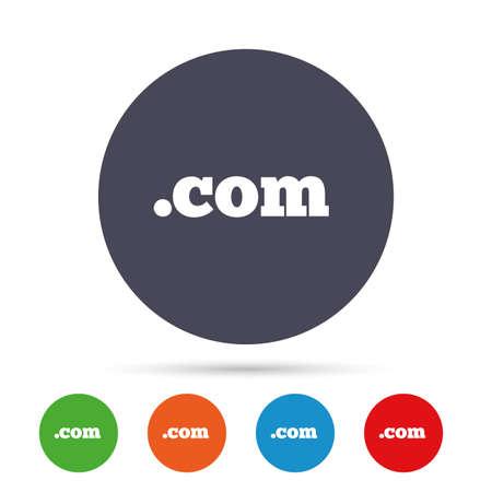 ドメイン COM の記号アイコン。トップレベルのインターネットドメインシンボル。フラットアイコン付きの丸いカラフルなボタン。ベクトル  イラスト・ベクター素材