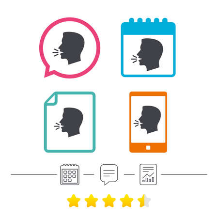 Talk or speak icon. Loud noise symbol. Human talking sign. Calendar, chat speech bubble and report linear icons. Star vote ranking. Vector