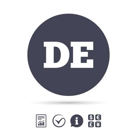 Deutsch-Sprache-Zeichen-Symbol. DE Deutschland Übersetzungssymbol. Dokumente, Informationen und Häkchen anzeigen. Geldwechsel. Vektor Standard-Bild - 79195533