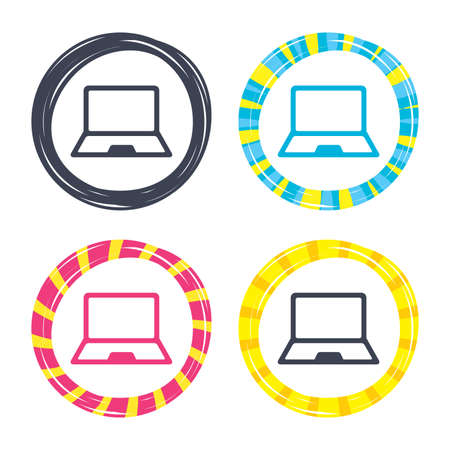 ノート パソコンの記号のアイコン。ノートブック pc の記号です。アイコンと色のボタン。ポーカー チップのコンセプトです。ベクトル  イラスト・ベクター素材