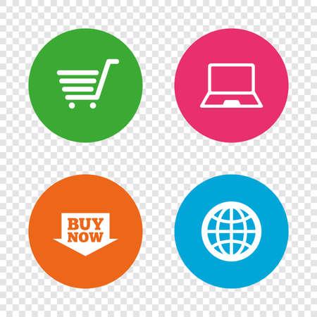 オンライン ショッピングのアイコン。ノート pc、ショッピングカート、今矢印とインターネットの兆候を購入します。WWW 世界のシンボルです。透明