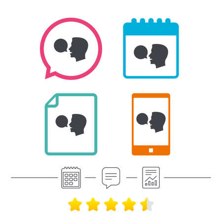 Talk or speak icon. Speech bubble symbol. Human talking sign. Calendar, chat speech bubble and report linear icons. Star vote ranking. Vector Illustration