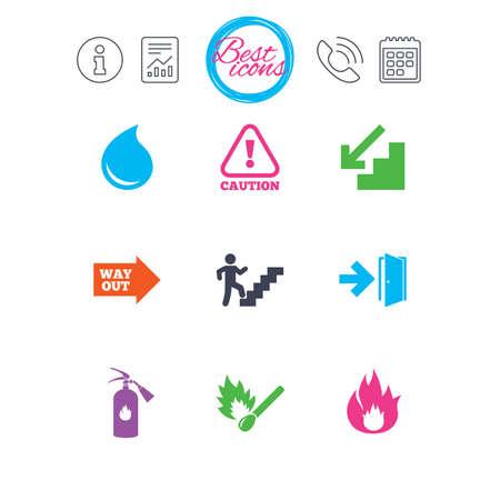 Señales de información, reportes y calendarios. Seguridad contra incendios, iconos de emergencia. Extintor de incendios, señalización de salida y atención. Precaución, gota de agua y símbolos de salida. Clásico simple plana iconos web. Vector Foto de archivo - 79232291