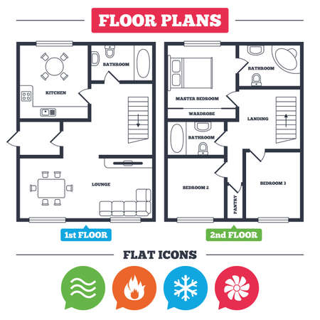 Architecture plan with furniture. House floor plan. HVAC icons. Heating, ventilating and air conditioning symbols. Water supply. Climate control technology signs. Kitchen, lounge and bathroom. Vector