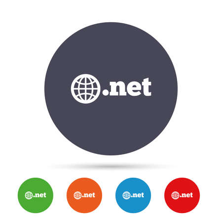 Domain NET sign icon. Top-level internet domain symbol with globe. Round colourful buttons with flat icons. Vector