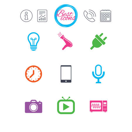 Information, report and calendar signs. Home appliances, device icons. Electronics signs. Lamp, electrical plug and photo camera symbols. Classic simple flat web icons. Vector Illustration