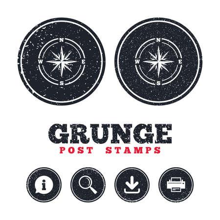 Grunge Post Briefmarken. Kompass Zeichen Symbol. Windrose Navigationssymbol. Informationen, Download und Druckerschilder. Gealterte Textur Web-Schaltflächen. Vektor Standard-Bild - 79193014