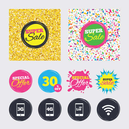 Gold glitter and confetti backgrounds. Covers, posters and flyers design. Mobile telecommunications icons. 3G, 4G and LTE technology symbols. Wi-fi Wireless and Long-Term evolution signs. Sale banners Reklamní fotografie - 79230884