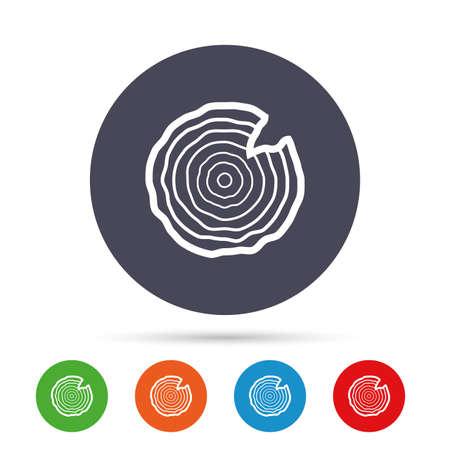 Houten teken pictogram. Boomgroei ringen. Boomstam doorsnede met nick. Ronde kleurrijke knoppen met plat pictogrammen. Vector Stock Illustratie