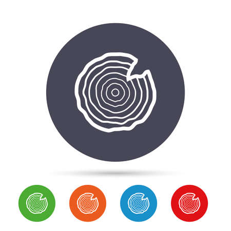 Wood sign icon. Tree growth rings. Tree trunk cross-section with nick. Round colourful buttons with flat icons. Vector Ilustracja