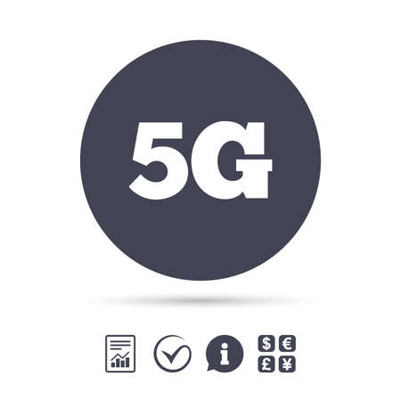 5G sign icon. Mobile telecommunications technology symbol. Report document, information and check tick icons. Currency exchange. Vector Reklamní fotografie - 79232854