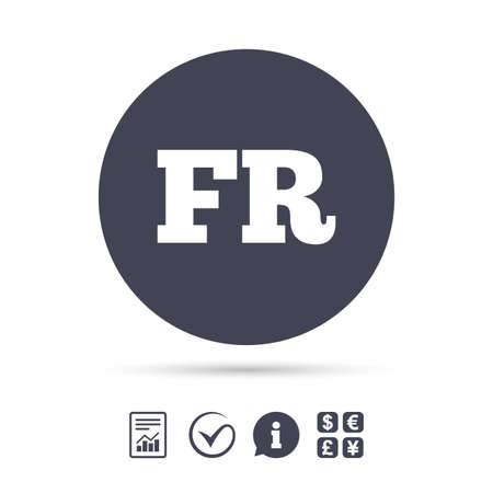 Franse taal teken pictogram. FR Frankrijk vertaalsymbool. Rapporteer document, informatie en vink pictogrammen aan. Wisselkantoor. Vector