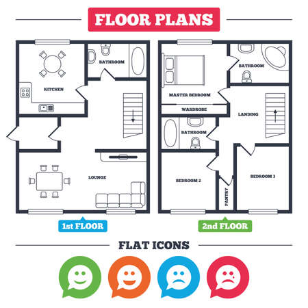 Architecture plan with furniture. House floor plan. Speech bubble smile face icons. Happy, sad, cry signs. Happy smiley chat symbol. Sadness depression and crying signs. Kitchen, lounge and bathroom