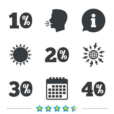 Sale discount icons. Special offer price signs. 10, 20, 30 and 40 percent off reduction symbols. Information, go to web and calendar icons. Sun and loud speak symbol. Vector