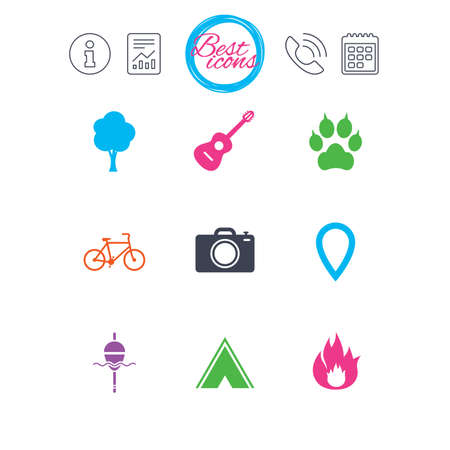 Information, report and calendar signs. Tourism, camping icons. Fishing, fire and bike signs. Guitar music, photo camera and paw with clutches. Classic simple flat web icons. Vector Иллюстрация