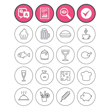 Question and answer, check tick and report signs. Food and Drinks icons. Beer, coffee and cocktail symbols. Fish and pork meat, hamburger and cheese thin outline signs. Chief hat. Vector