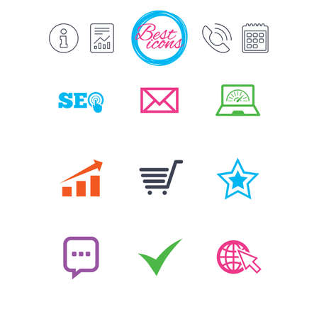 Information, report and calendar signs. Internet, seo icons. Tick, online shopping and chart signs. Bandwidth, mobile device and chat symbols. Classic simple flat web icons. Vector
