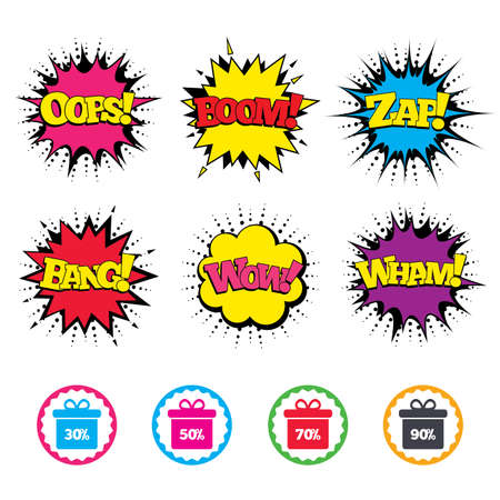 seventy: Comic Wow, Oops, Boom and Wham sound effects. Sale gift box tag icons. Discount special offer symbols. 30%, 50%, 70% and 90% percent discount signs. Zap speech bubbles in pop art. Vector