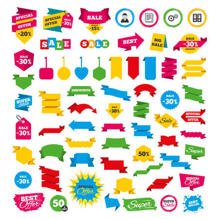 Web banners and labels. Special offer tags. Accounting workflow icons. Human silhouette, cogwheel gear and documents folders signs symbols. Discount stickers. Vector