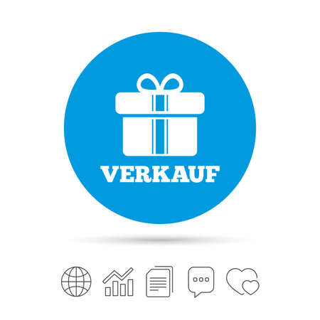 Verkauf - Verkauf in deutschen Zeichen Symbol. Geschenkbox mit Bändern Symbol. Kopieren Sie Dateien, Chat Sprechblase und Diagramm Web-Icons. Vektor Standard-Bild - 79233036