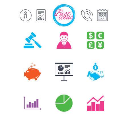 Informatie, rapport en kalenderborden. Geld, contant geld en financiën pictogrammen. Handdruk, spaarvarken en wisselborden. Grafiek, veiling en zakenman symbolen. Klassieke eenvoudige platte web iconen. Vector