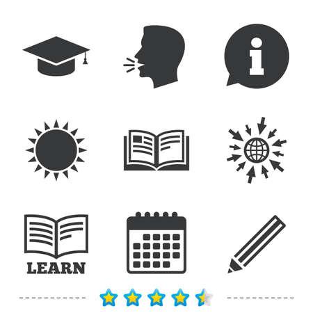 鉛筆と開いている本のアイコン。卒業キャップ記号です。高等教育は、標識を学ぶ。については、web とカレンダーのアイコンに移動します。太陽し  イラスト・ベクター素材
