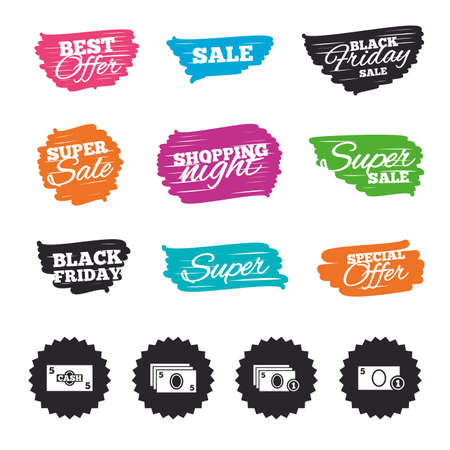 Ink brush sale banners and stripes. Businessman case icons. Currency with coins sign symbols. Special offer. Ink stroke. Vector