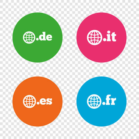 Top-level internet domain icons. De, It, Es and Fr symbols with globe. Unique national DNS names. Round buttons on transparent background. Vector Stock Vector - 79192631