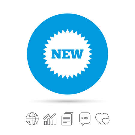 New sign icon. New arrival star symbol. Copy files, chat speech bubble and chart web icons. Vector Illustration