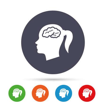脳記号アイコンで頭します。女性の人間の頭では、シンボルだと思います。フラット アイコンと丸いカラフルなボタン。ベクトル