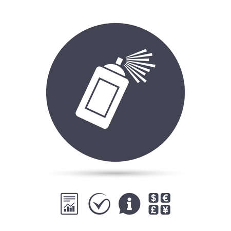 paint can: Graffiti spray can sign icon. Aerosol paint symbol. Report document, information and check tick icons. Currency exchange. Vector Illustration