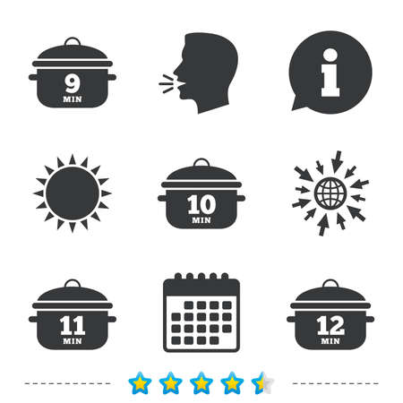 Cooking pan icons. Boil 9, 10, 11 and 12 minutes signs. Stew food symbol. Information, go to web and calendar icons. Sun and loud speak symbol. Vector Illustration