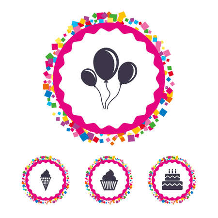 fire and ice: Web buttons with confetti pieces. Birthday party icons. Cake with ice cream signs. Air balloons with rope symbol. Bright stylish design. Vector