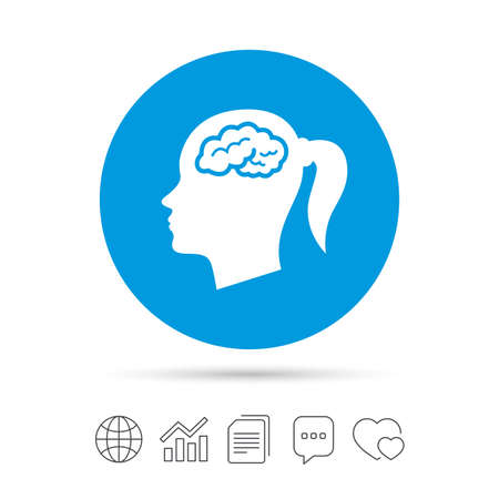 Head with brain sign icon. Female woman human head think symbol. Copy files, chat speech bubble and chart web icons. Vector