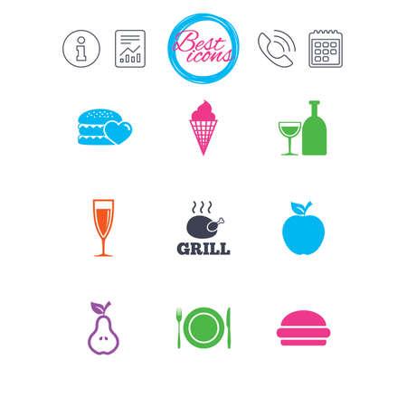 Informationen, Bericht und Kalenderzeichen. Essen, trinken Icons. Grill-, Burger- und Eiscremezeichen. Huhn, Champagner und Apfelsymbole. Klassische einfache flache Netzikonen. Vektor Standard-Bild - 79233079