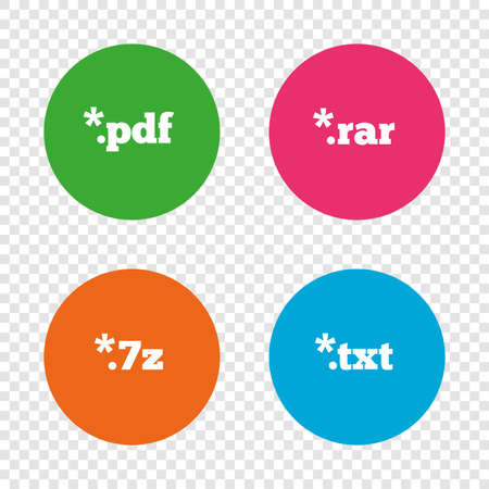 Document icons. File extensions symbols. PDF, RAR, 7z and TXT signs. Round buttons on transparent background. Vector Illustration