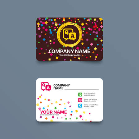 Business card template with confetti pieces. Question answer sign icon. Q&A symbol. Phone, web and location icons. Visiting card  Vector