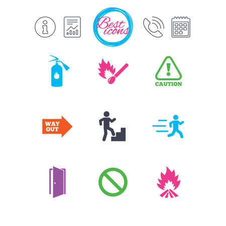 Information, report and calendar signs. Fire safety, emergency icons. Fire extinguisher, exit and attention signs. Caution, water drop and way out symbols. Classic simple flat web icons. Vector Illustration