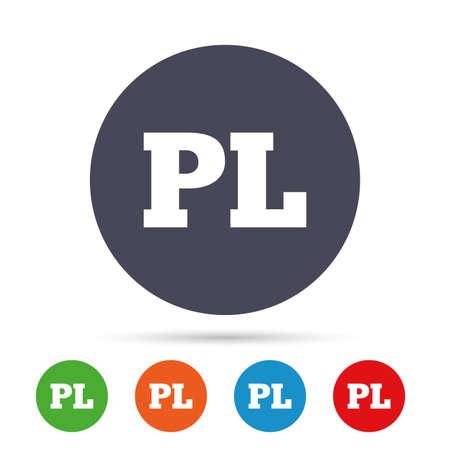 Poolse taal teken pictogram. PL-vertaalsymbool. Ronde kleurrijke knoppen met plat pictogrammen. Vector