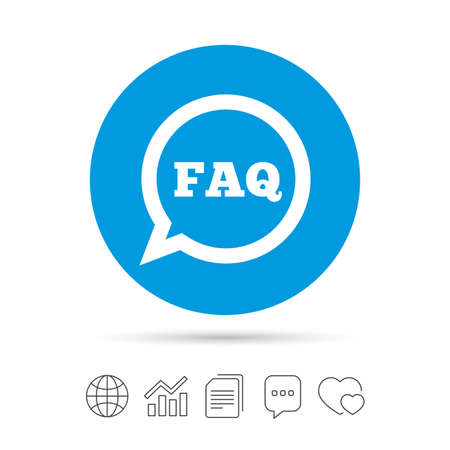 FAQ information sign icon. Help speech bubble symbol. Copy files, chat speech bubble and chart web icons. Vector Illustration