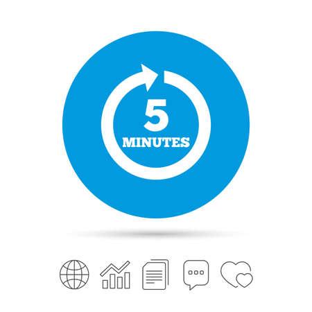 5 分ごとに署名アイコン。回転矢印記号です。ファイルのコピー、音声バブルとグラフ web アイコンをチャットします。ベクトル