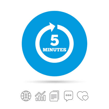 Every 5 minutes sign icon. Full rotation arrow symbol. Copy files, chat speech bubble and chart web icons. Vector