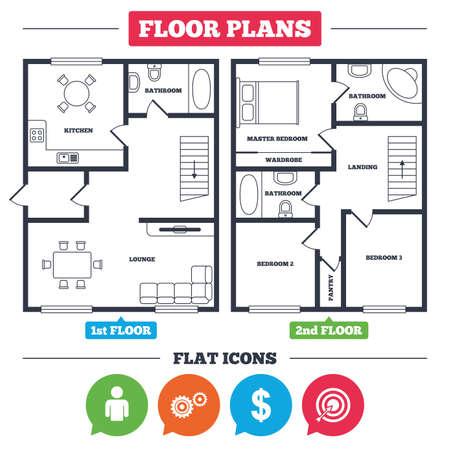 家具と建築の計画。家の平面図。ビジネスのアイコン。矢印サインで人間のシルエットと目的 targer。ドル通貨とギアのシンボル。キッチン、ラウン